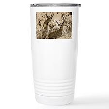 Bucks in snow sepia Travel Mug
