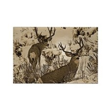 Bucks in snow sepia Rectangle Magnet