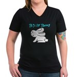 B is for Bunny Women's V-Neck Dark T-Shirt