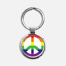 Big Rainbow Stripe Peace Sign Round Keychain