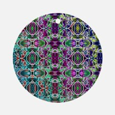 Rainbow Fractal Art Pattern Round Ornament