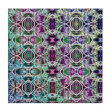 Rainbow Fractal Art Pattern Tile Coaster