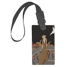 Art Deco Lady And Bird Luggage Tag