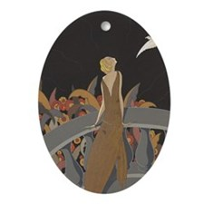 Art Deco Lady And Bird Oval Ornament