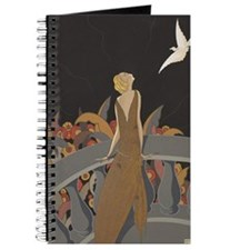 Art Deco Lady And Bird Journal