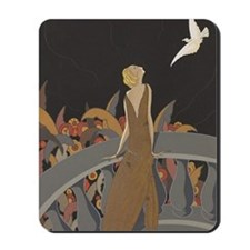 Art Deco Lady And Bird Mousepad