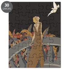 Art Deco Lady And Bird Puzzle