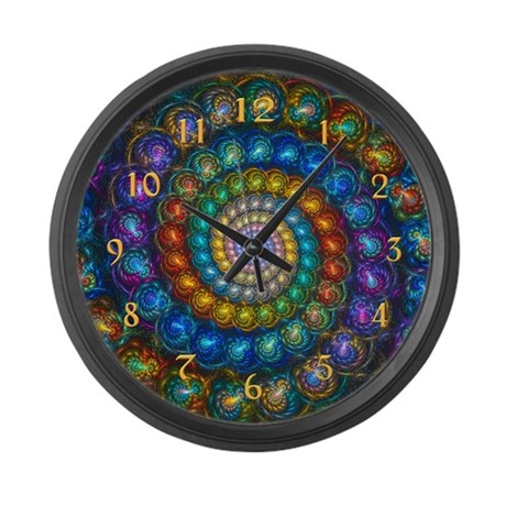 Fractal Spiral Shell Beads Large Wall Clock