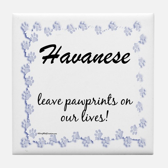 Havanese Pawprint Tile Coaster