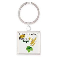 I Like My Water Square Keychain