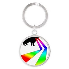 Kitty Cat with Laser eyes shirt Round Keychain