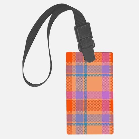 orange plaid Luggage Tag