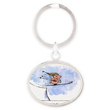 flyingpigcard Oval Keychain