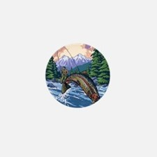 Mountain Trout Fisherman Mini Button