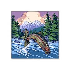 "Mountain Trout Fisherman Square Sticker 3"" x 3"""