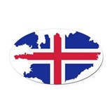 Iceland Oval Car Magnets