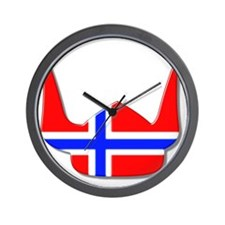 Norway Norse Helmet Flag Design Wall Clock