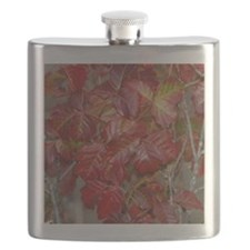Red Poison Oak Leaves Flask