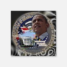 "Obama Re-elected Square Sticker 3"" x 3"""