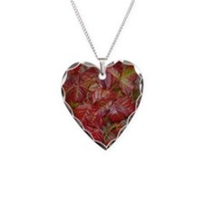Red Poison Oak Leaves Necklace Heart Charm