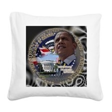 Obama Re-elected Square Canvas Pillow
