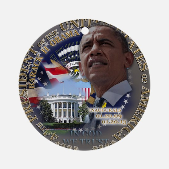 Obama Re-elected Round Ornament