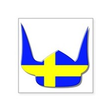 "Sweden Swedish Helmet Flag  Square Sticker 3"" x 3"""