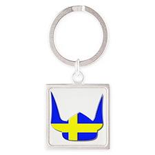 Sweden Swedish Helmet Flag Design Square Keychain