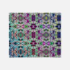 Rainbow Fractal Art Pattern Throw Blanket