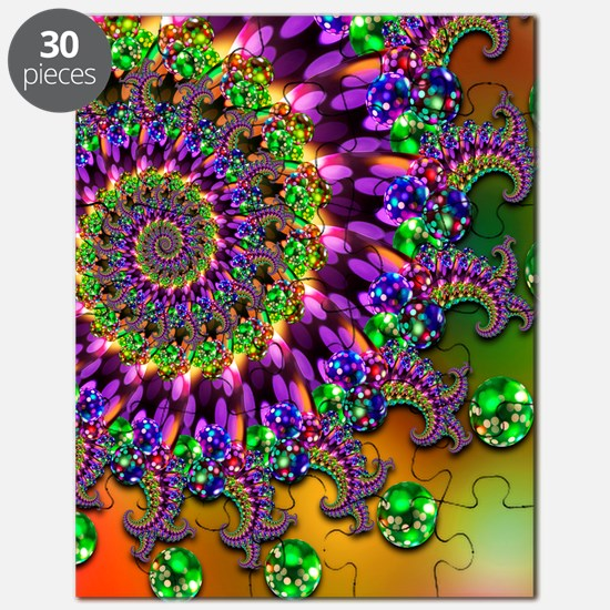 Green and Purple Bokeh Fractal Pattern Puzzle