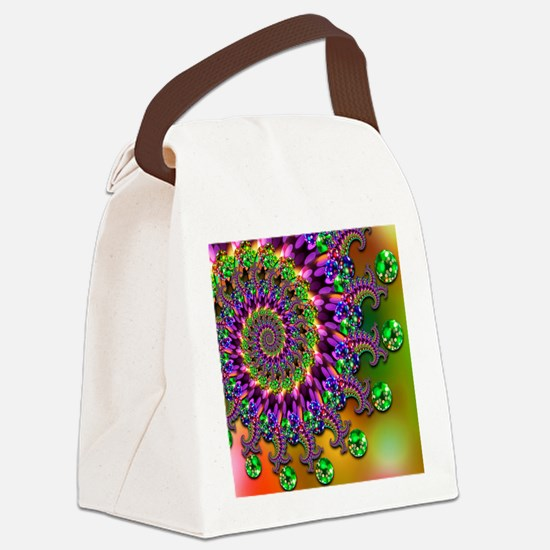 Green and Purple Bokeh Fractal Pa Canvas Lunch Bag