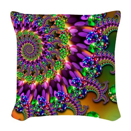 Purple Green Throw Pillow : Green and Purple Bokeh Fractal Woven Throw Pillow by Admin_CP74453057