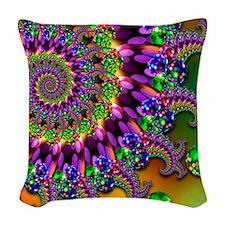 Green and Purple Bokeh Fractal Woven Throw Pillow