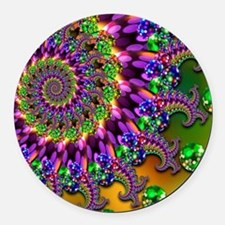 Green and Purple Bokeh Fractal Pa Round Car Magnet