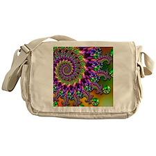 Green and Purple Bokeh Fractal Patte Messenger Bag