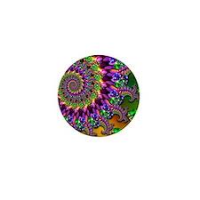 Green and Purple Bokeh Fractal Pattern Mini Button