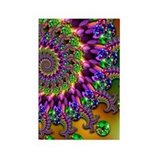Green and Purple Bokeh Fractal Pa Rectangle Magnet