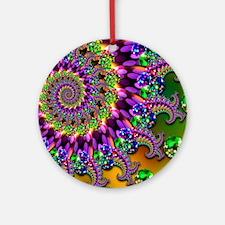 Green and Purple Bokeh Fractal Patt Round Ornament