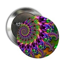 "Green and Purple Bokeh Fractal Patter 2.25"" Button"