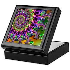 Green and Purple Bokeh Fractal Patter Keepsake Box