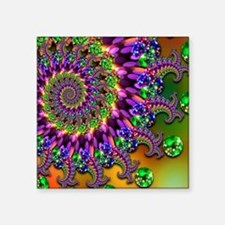 "Green and Purple Bokeh Frac Square Sticker 3"" x 3"""