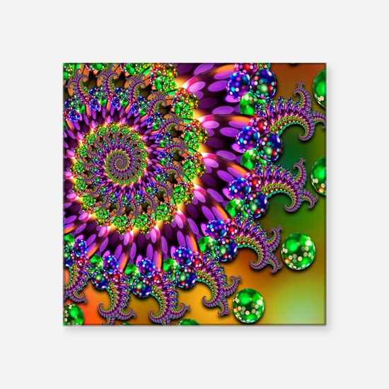 "Green and Purple Bokeh Frac Square Sticker 3"" x 3"""