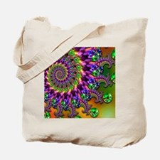 Green and Purple Bokeh Fractal Pattern Tote Bag