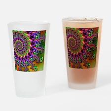 Green and Purple Bokeh Fractal Patt Drinking Glass