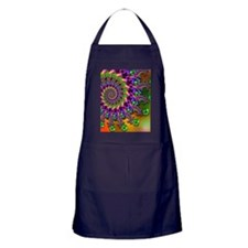 Green and Purple Bokeh Fractal Patter Apron (dark)