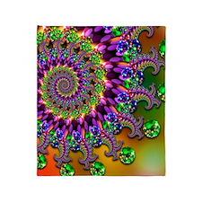 Green and Purple Bokeh Fractal Patte Throw Blanket