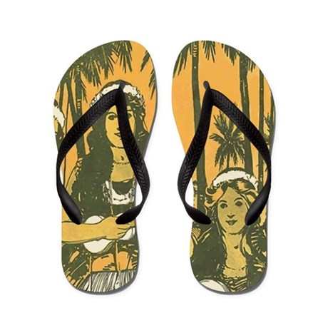 Hawaiian Ukelele Girls Flip Flops