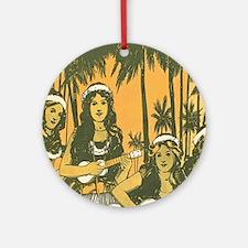 Hawaiian Ukelele Girls Round Ornament