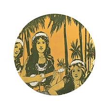 "Hawaiian Ukelele Girls 3.5"" Button"