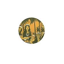 Hawaiian Ukelele Girls Mini Button
